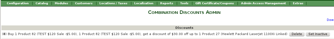 Combination Discounts Admin - Add a new linkage
