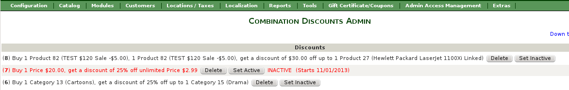 Combination Discounts Admin - set linkage inactive