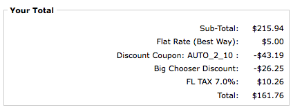 Zen Cart Payment page showing Big Chooser Discount and AutoCoupon discount