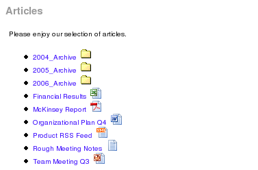 Document and Article Manager showing subfolders