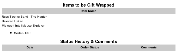Account History page showing gift wrapping