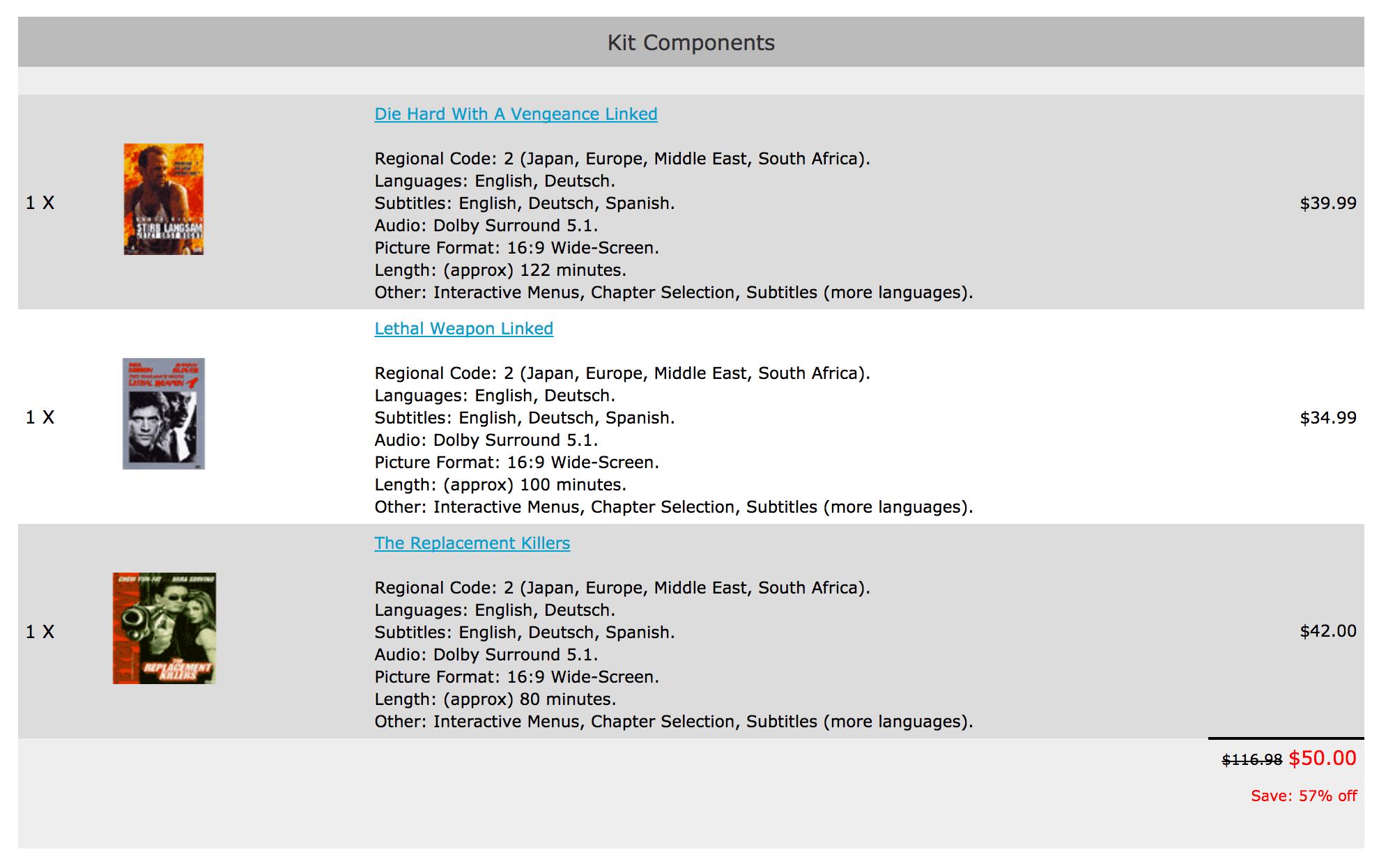 Zen Cart Kitbuilder Product Info Page