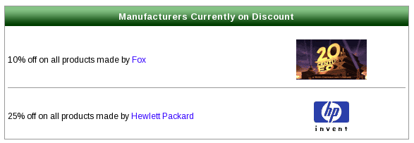 Manufacturer Listing Page with Manufacturer Discount