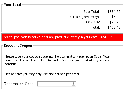 Example Zen Cart Coupon Entry Rejected