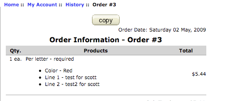Order Copy button on Account History Information Page