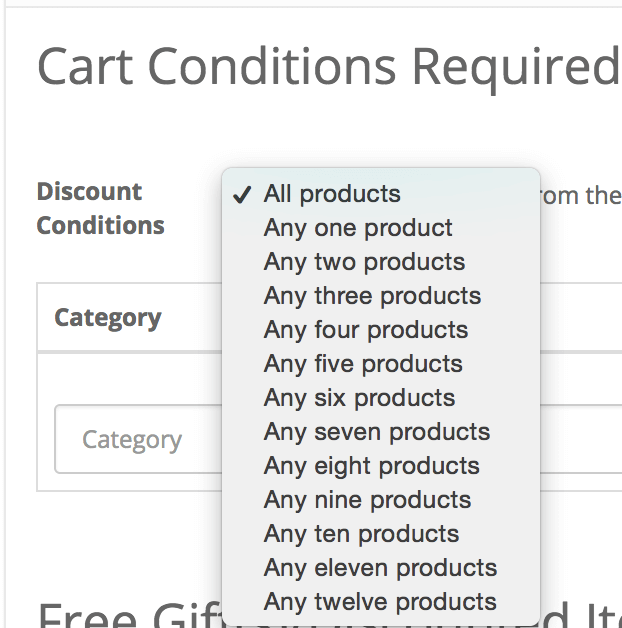 OpenCart Discount Chooser Conditions Dropdown