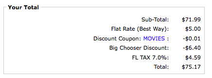 Zen Cart Payment page showing Big Chooser Discount based on coupon