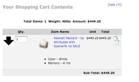 Zen Cart Shopping Cart Page showing Save For Later