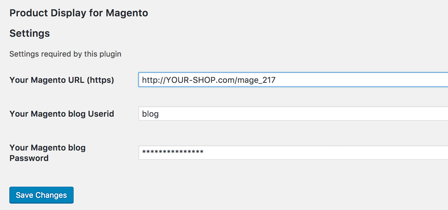 WordPress Configuration - Product Display for Magento