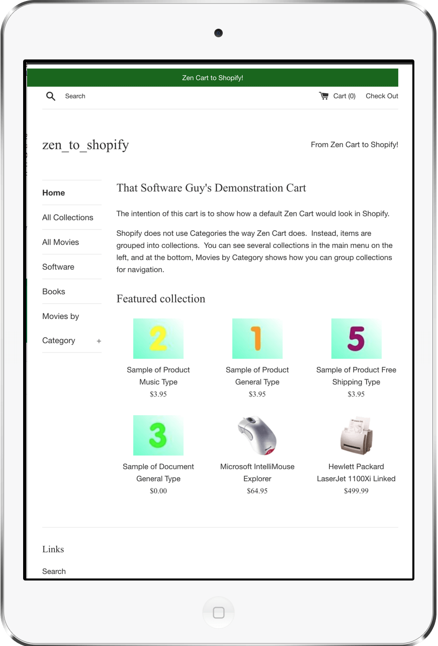 Shopify site2 on iPad