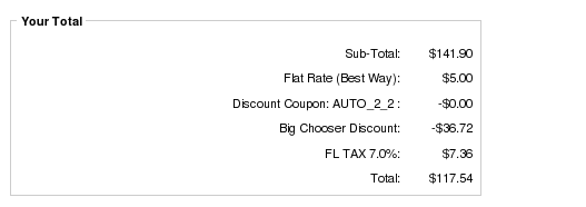 Zen Cart Payment page showing Big Chooser Discount based on Zero Dollar coupon